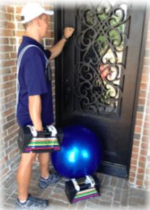 "personal trainer knocking on door of home in Keller"" vspace="