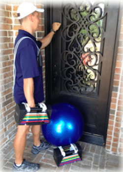 """personal trainer knocking on door of home in coppell"""" vspace="""