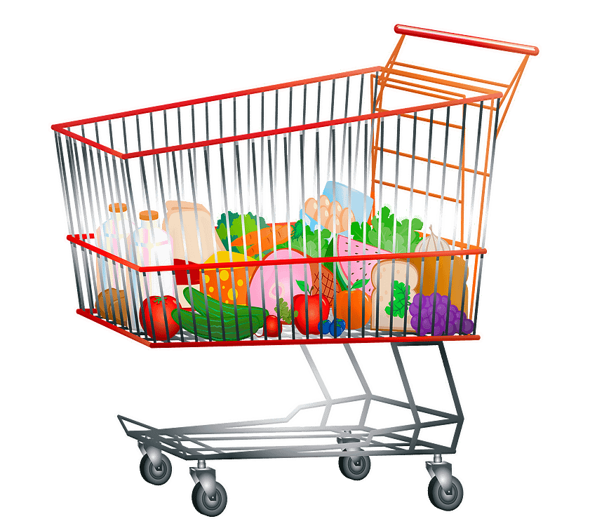 grocery cart full of healthy labels